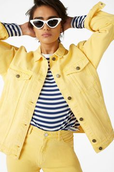 Monki | Classic Denim Jacket (Yellow)    Buy: https://www.monki.com/en_gbp/clothing/coats-and-jackets/product.classic-denim-jacket-hello-sunshine-yellow.0445860011.html