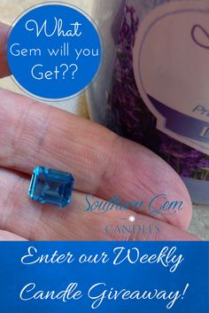 Southern Gem Candles. Enter to win a Premium Soy Candle with a beautiful gemstone inside, in our weekly candle giveaway. Simply repin this pin and click to enter.  http://southerngemcandles.us8.list-manage.com/subscribe?u=4a2aa53b5977a4ac63e8b6efd&id=7a49d2c16e