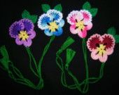 Items similar to 4 Crochet  Spring  Pansy   Flowers   Bookmarks,  Gifts,  New,  Girls, Office on Etsy
