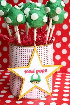 mario kart toad pops (krispy kreme donut holes dipped like cake pops)- caed's 6th