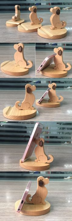 Wooden Dog shaped iPhone iPad SmartPhone Charging Station Dock Stand Holder Mount for iPhone iPad and Other Cell Phone