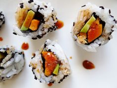 sweet potato & avocado so sinfully good together rolled inside out with nori & sushi rice