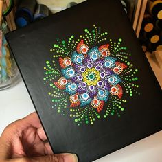 Something new today. A journal cover. #dotwork #mandaladotpainting #thedottedturtle #mandalart #edmontonartist #mandaladotpainting #dotdotdot