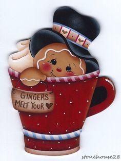 "HP GINGERBREAD ""Gingers Melt Your Heart"" FRIDGE MAGNET #Handpainted"