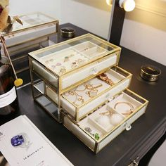 boucles doreilles bracelets bagues lot de 2 colliers mDesign Rangement pour bijoux Ivoire//Transparent