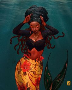 I guess this will be my last official since May is over now. I fell asleep before I could post this 😝 This one was loosely based… Black Love Art, Black Girl Art, Black Is Beautiful, Black Girl Magic, Art Girl, Black Art Painting, Black Artwork, Black Mermaid, Mermaid Art
