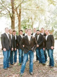 Groomsmen rocking jeans and suit jackets for casual, country wedding Photography by Austin Gros / austingros.com by winnie