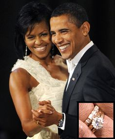 The Most Breathtaking Celebrity Engagement Rings Ever - Michelle and Barack Obama from InStyle.com