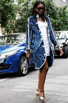 A woman models a jacket made from a Basotho blanket by designer Thabo Makhetha. African Print Dresses, African Fashion Dresses, African Dress, Ankara Fashion, African Prints, African Attire, African Wear, African Women, African Style