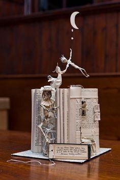 Peter Pan Book Sculpture - Cool Book Sculptures for Inspiration, http://hative.com/book-sculptures/,