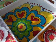 Painted Trays, Painted Chairs, Hand Painted Furniture, Painted Pots, Dot Painting, Painting On Wood, Crafts To Make, Diy Crafts, Wal Art