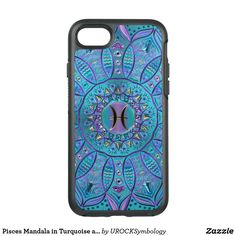Pisces Mandala in Turquoise and Purple OtterBox Symmetry iPhone 7 Case