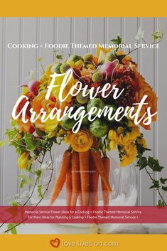 Memorial Service Flowers | Cooking Themed Memorial Service. With the help of a local florist, these food themed memorial service flower arrangements would make a beautiful addition to a loved one's food themed memorial service. Click to browse more cooking + foodie themed memorial service flower ideas. Funeral Flowers | Memorial Service Flowers | Funeral Flower Ideas | Funeral Flower Arrangements #MemorialServiceFlowers #FuneralFlowerArrangements #AFittingFarewell