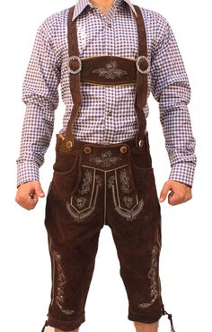 Authentic lederhosen for men. Long kniebund lederhosen and short leather trousers. Perfect german cstumes for ocktoberfest! Srylish lederhosen for men with embroidery and adjustable buckles. Buy lederhosen now for sale with a free bavarian shirt. Oktoberfest Outfit, Munich Oktoberfest, Oktoberfest Party, Mens Lederhosen, German Costume, German Outfit, Dirndl Dress, Dress Up Costumes, Leather Trousers