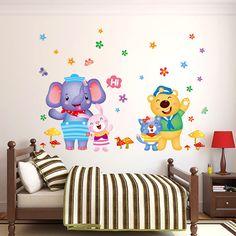 Habitación de los niños decoración de dibujos animados precioso elefante feliz etiqueta de la pared del oso