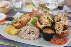 Langoustes grillées proposées au restaurant Chez Man Michel à Saint-François en Guadeloupe  Grilled Lobster at Chez Man Michel restaurant in Saint-François - Guadeloupe (French West Indies)