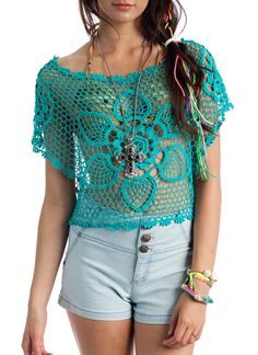 floral crochet cropped top $31.70
