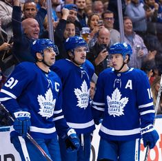 This picture though 💙🏒 Toronto Maple Leafs Wallpaper, Mitch Marner, John Tavares, Maple Leafs Hockey, Ice Hockey, Olympics, Graphic Sweatshirt, Number 7, Raptors
