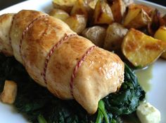 chicken stuffed with feta & sundried tomatoes, spinach and potatoes