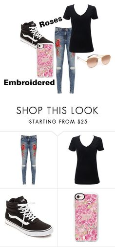 """""""Embroidered Jeans"""" by scbh05 ❤ liked on Polyvore featuring WearAll, Simplex Apparel, Vans, Casetify, Ray-Ban, black, roses and embroidered"""