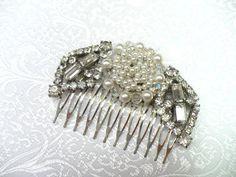 Vintage Bridal Hair Comb  RHINESTONES  faux by ElegantiTesori, $49.99