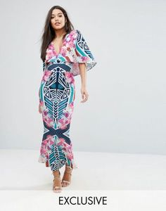 Ginger Fizz Cape detail Maxi Dress in Abstract Floral