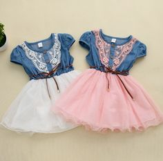 2014 new fashion Girls baby Lace Belt tutu cowboy dress children Patchwork dresses for girl US $11.90