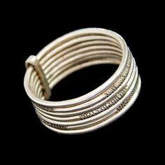 Tuareg silver seven band ring - bague semainier touareg argent