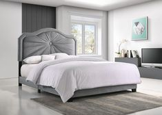Shop for Best Quality Furniture Queen/Twin/Full Sized Single Button Folded Velvet Bed. Get free delivery On EVERYTHING* Overstock - Your Online Furniture Outlet Store! Velvet Upholstered Bed, Velvet Bed, Upholstered Platform Bed, King Size Platform Bed, Full Bed, Grey Bedding, Panel Bed, Bed Styling, Headboards For Beds