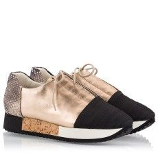 Colorblock snake print and metallic effect leather cork sole low top sneakers