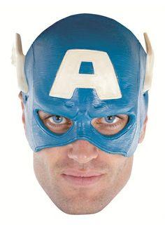 Capt America Ad Vinyl 1/4 Mask Adult One Size