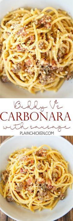 Bucatini Carbonara with Sausage - recipe from Buddy V's in Las Vegas. SO easy to…