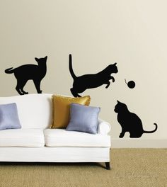 More cat wall stickers! Wall Murals, Wall Decal, Wall Art, Wall Stickers, Do It Yourself Design, Cat Bedroom, Animal Categories, Cat Posters, Cat Decor