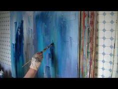 Painting Acrylics Collage Acrylmalerei malen lernen abstrakt Türkis-Grau lange Version - YouTube