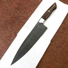 """Matt Westberg (@bergblades) on Instagram: """"Stainless Damascus 10inch chef knife done. @phillyjeff76 hope you enjoy it. Pics don't do it…"""""""