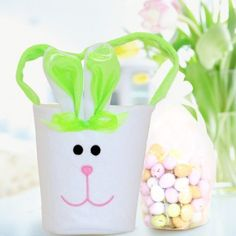 Personalised Green Bunny Bucket with Easter Egg Chocolates