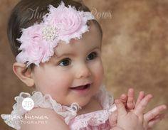 Rosa venda del bebé, venda Shabby Chic, diademas de bebé, bebé venda, venda de recién nacido, flor venda, venda de la Pascua