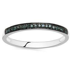 Malaika Sterling Silver 1/10ct TDW Blue Diamond Ring (Size- 8, Blue), Women's, White