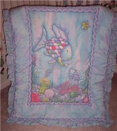 Fish Theme Crib Bedding | Kidsline Rainbow Fish Ocean Nursery Crib Quilt Blue EUC