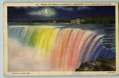 Niagara Falls, Colored Night Lights, vintage postcard