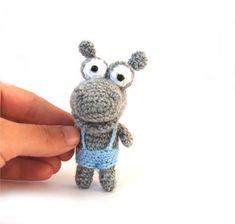 miniature hippopotamus, #tiny hippo, crocheted hippopotamus animal toy, safari jungle animal, little soft toy, gift for #children grey skyblue