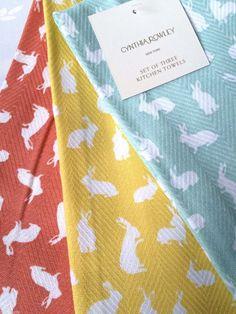 CYNTHIA ROWLEY EASTER BUNNY KITCHEN TEA DISH TOWELS SET OF 3 NEW #CynthiaRowley Dish Towels, Tea Towels, Bunny Art, 1920s Art Deco, Cynthia Rowley, Easter Bunny, Bunnies, Rabbit, Bath