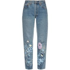 Bliss and Mischief Wild Flower embroidered cropped jeans (1.025 RON) ❤ liked on Polyvore featuring jeans, pants, bottoms, denim, high waisted straight leg jeans, high waisted blue jeans, high waisted cropped jeans, high rise jeans and high waisted jeans