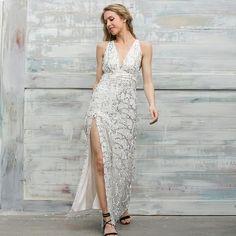 Sequin Tassel Mermaid Long Dress Evening Party V Neck Summer Dress