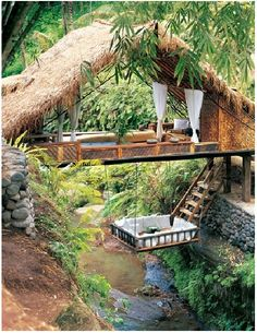 Bali inspiration   For a hanging bed or living room suspended from ceiling which pulls up/ out of way....