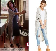 Devious Maids: Season 3 Episode 6 Marisol's long Cardigan. I don't watch this show, but I do like her cardigan :)