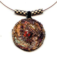 Fiber Collage Necklace Textile Necklace in Shades of by Fibernique, $22.00