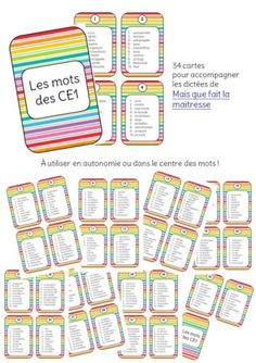 5 au quotidien - centre des mots - les mots des CE1 Education And Literacy, Core French, Reading Games, French Immersion, Home Schooling, Back To School, Bullet Journal, Classroom, Math