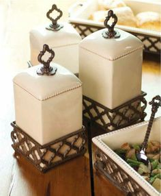 These gorgeous Ogee-G cream canisters from #TheGGCollection are back in stock at Iron Accents!