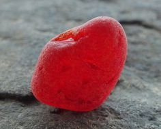 Piece of RARE Deep Red Beach Sea Glass with Texture